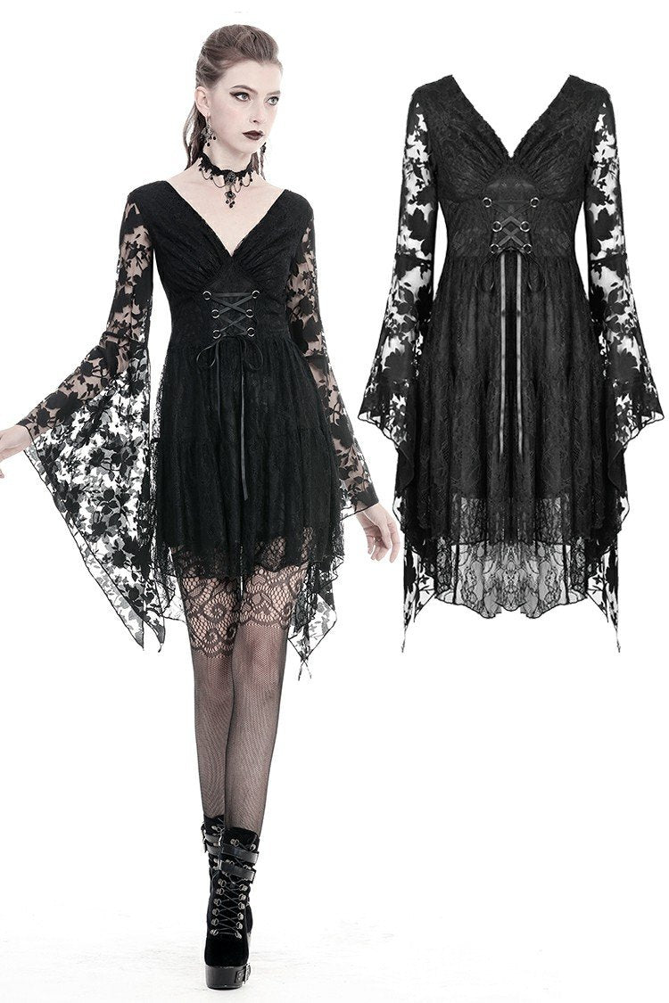Gothic Japanese lace dress with kimono neck DW347
