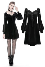Load image into Gallery viewer, Gothic velvet long sleeves dress with Y shape chest DW349 - Gothlolibeauty