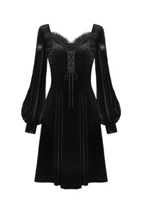 Gothic velvet long sleeves dress with Y shape chest DW349 - Gothlolibeauty