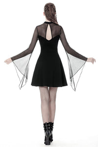 Punk mesh horn long sleeves midi dress  DW354 - Gothlolibeauty