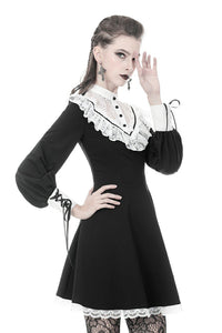 Ladies black lolita dress with white inverted triangle lace front  DW355
