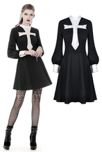 Load image into Gallery viewer, Gothic vintage black dress with a big white skull cross front DW356