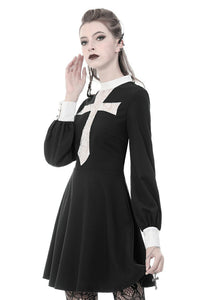 Gothic vintage black dress with a big white skull cross front DW356