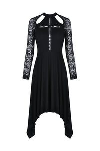 Gothic hollow cross dress with lacey long sleeves DW363 - Gothlolibeauty