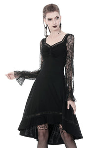 Gothic lolita long lace sleeves tail dress DW371 - Gothlolibeauty