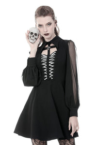 Gothic coffin and cross front long sleeves dress DW378 - Gothlolibeauty