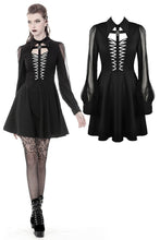 Load image into Gallery viewer, Gothic coffin and cross front long sleeves dress DW378 - Gothlolibeauty