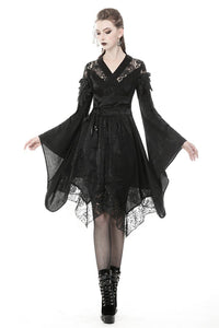 Gothic lace hollow shoulders kimono dress DW380 - Gothlolibeauty