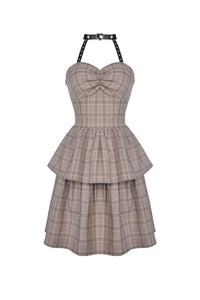 Punk checked layer prom corset dress DW387 - Gothlolibeauty