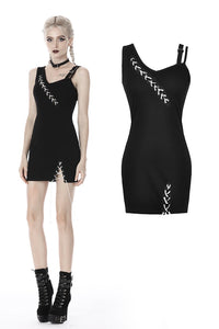 Punk suture asymmetrical tight dress DW392 - Gothlolibeauty