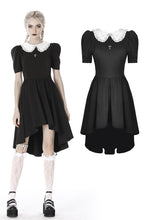 Load image into Gallery viewer, Black lolita Whiteite collar cocktail dress DW397 - Gothlolibeauty