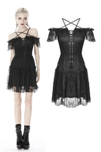 Load image into Gallery viewer, Gothic lace star-line chest short sleeves dress DW408 - Gothlolibeauty