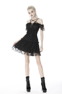 Gothic lace star-line chest short sleeves dress DW408 - Gothlolibeauty