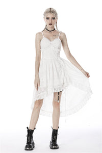 Steampunk Whiteite cocktail lace strap dress DW420 - Gothlolibeauty