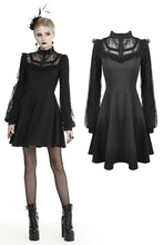 Load image into Gallery viewer, Black dolly frilly lace longsleeves gothic prom dress  DW438