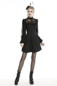 Black dolly frilly lace longsleeves gothic prom dress  DW438