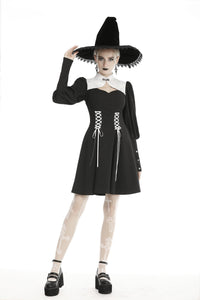 Gothic witch lace up longsleeves dress DW443