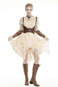 Steampunk irreqular frilly lace dress DW451
