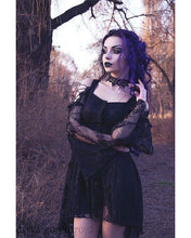 Load image into Gallery viewer, Gothic dress of ghost cocktail lace with button row DW053BK - Gothlolibeauty