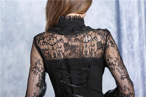 Chiffon material blouse with lace sleeves IW068 - Gothlolibeauty
