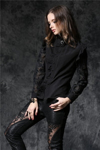 Haut dark blouse with asymmetric front and cord above the back IW071 - Gothlolibeauty