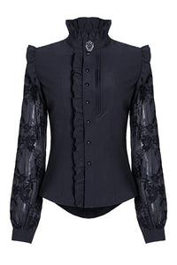 IW071 Haut dark blouse with asymmetric front and cord above the back - Gothlolibeauty