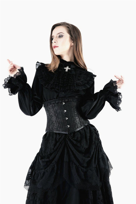 IW075 Gothic noble blouse with cross bow tie - Gothlolibeauty