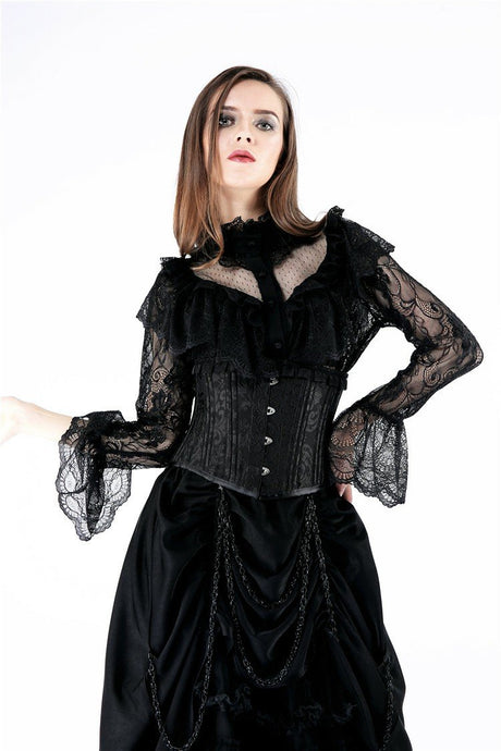 IW076 Gothic lolita hearted lace blouse - Gothlolibeauty