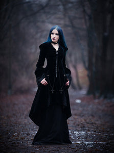 JW109 Gothic Witch mysterious velvet coat with detachable cross zipper