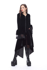 JW109 Gothic Witch mysterious velvet coat with detachable cross zipper - Gothlolibeauty