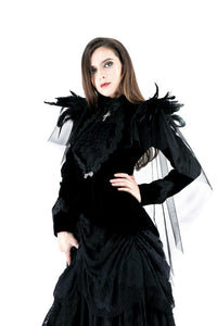 JW116 Gothic velvet jacket with swallow shoulder - Gothlolibeauty