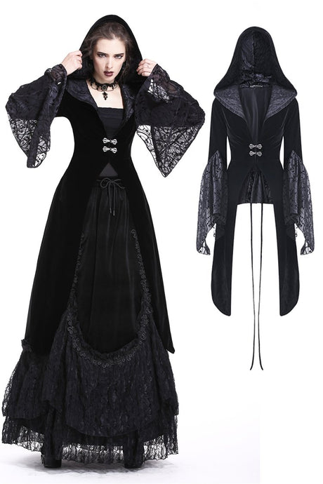 Gothic velvet hooded jacket JW159 - Gothlolibeauty