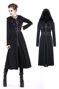 Punk inverted triangle zippered long jacket JW165 - Gothlolibeauty
