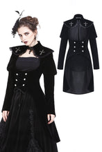 Load image into Gallery viewer, Gothic fortnite costumes cross double-breasted long velvet jacket JW170 - Gothlolibeauty