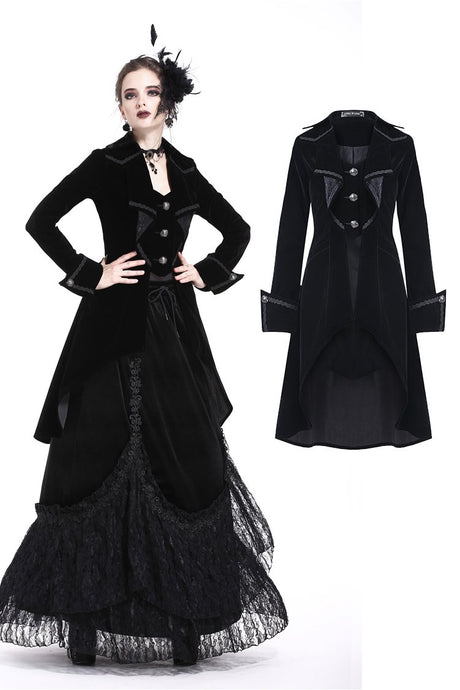 Gothic pleated long velvet jacket JW171 - Gothlolibeauty