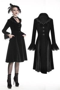Gothic winter warm long jacket with clamped lace hem JW196 - Gothlolibeauty