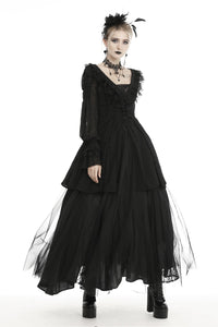Gothic princess frilly bead button up thin coat JW221
