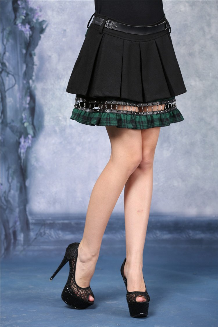 Punk pleated skirt with plaids connected by cycle chain KW039GN - Gothlolibeauty
