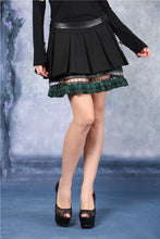 Load image into Gallery viewer, Punk pleated skirt with plaids connected by cycle chain KW039GN - Gothlolibeauty