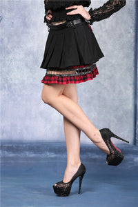 Punk pleated skirt with plaids connected by cycle chain KW039RD - Gothlolibeauty