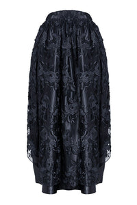 KW090 Gothic lace long skirt with satin crimple - Gothlolibeauty