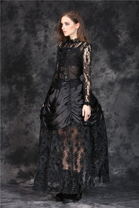 KW091 gothic shaped crinkle satin long skirt with embroidery lace (price is not including petticoat) - Gothlolibeauty