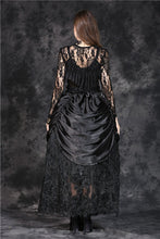 Load image into Gallery viewer, KW091 gothic shaped crinkle satin long skirt with embroidery lace (price is not including petticoat) - Gothlolibeauty