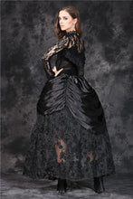 Load image into Gallery viewer, Gothic shaped crinkle satin long skirt with embroidery lace (price is not including petticoat) KW091 - Gothlolibeauty
