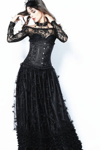 Gothic long skirt with budding flowers lace KW093 - Gothlolibeauty