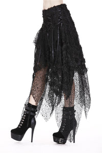 Punk disorderly flower and mesh skirt with irregular hem KW126 - Gothlolibeauty