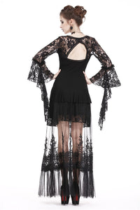 KW128 Gothic long skirt with flower hollow-out design - Gothlolibeauty