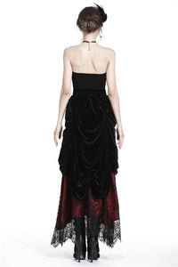 Gothic Black red wave velvet lace maxi skirt KW133RD - Gothlolibeauty