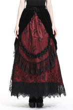 Load image into Gallery viewer, Gothic Black red wave velvet lace maxi skirt KW133RD - Gothlolibeauty