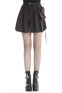 Black casual punk pleated short skirt with bag side KW152 - Gothlolibeauty